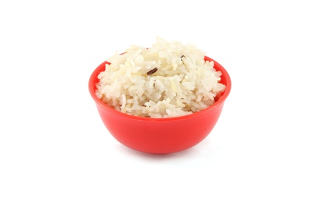 Side steam brown rice red bowl on white background