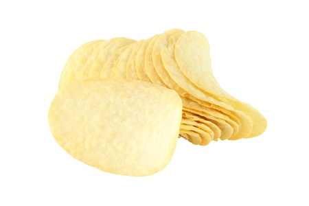 Row of potato chip and single on white background. Stock Photo