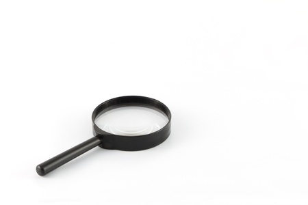 Black frame magnifying glass on white background. Stock Photo