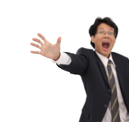 Wanring for stop from business man focus on hand. Stock Photo - 15615972