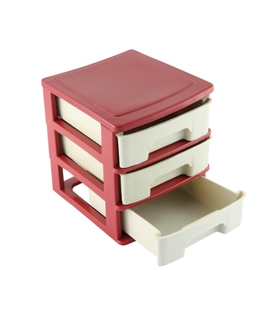 Lower drawers cabinet opened on white background. Stock Photo - 15624084