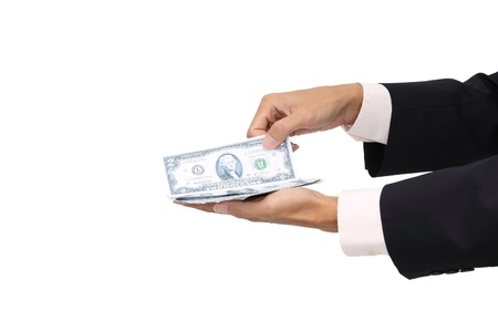 Pick some cash in business man hand on white background.