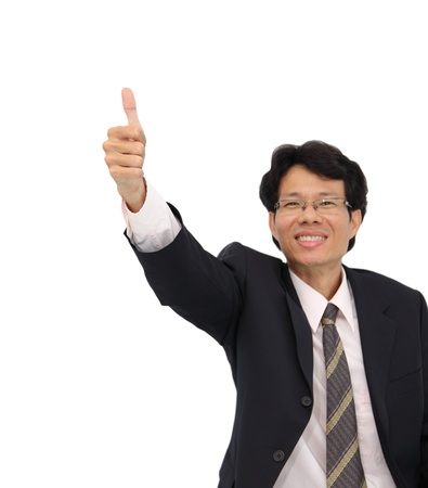 Business man focus at thumb up on white background. Stock Photo - 15866996