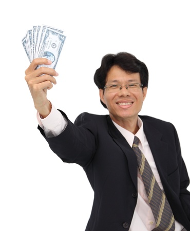 Cash in smile business man hand on white background. Stock Photo - 15971603