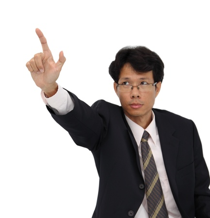Business man pointing focus at finger on white background. Stock Photo - 15971604