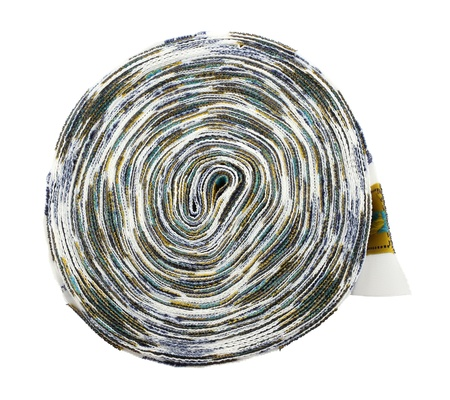 Roll of cloth label on white background.