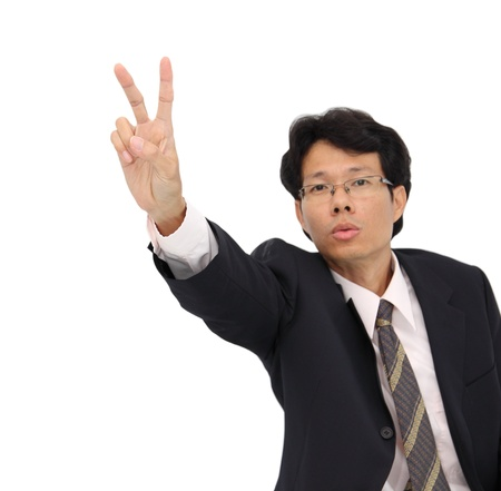 Business man showing victory hand focus at finger on white background.