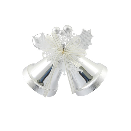 Couple silver Christmas bells on white background. Stock Photo