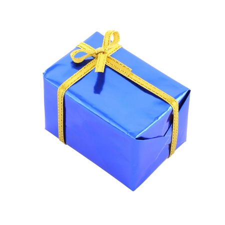 Blue gift box wrinkle corner on white background. photo