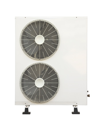 condenser: Front of old air condition condenser on white background. Stock Photo