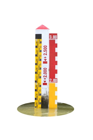 depth measurement: Water level scale and water base on white background. Stock Photo