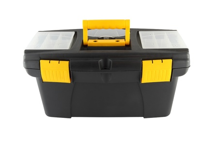 Black plastic tool box on white background.