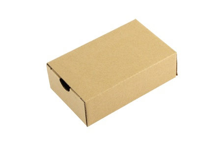 Cardboard box closed on white background. Stock Photo - 18388349