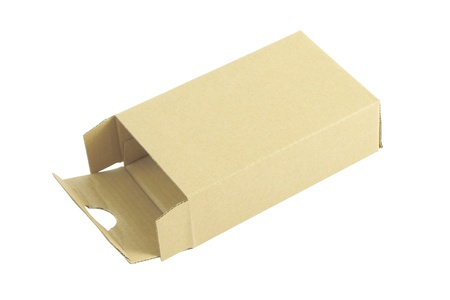 Cardboard box opened on white background. Stock Photo - 18389013
