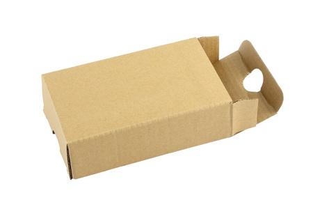 Cardboard box opened cover on white background. Stock Photo - 18511960