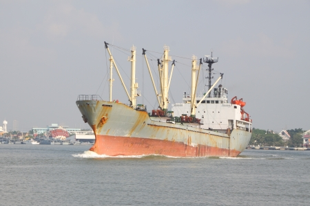Ship for contain product in wide river. photo