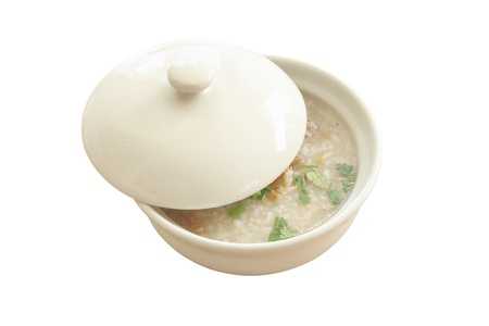 Congee bowl and cover on white background. Stock Photo