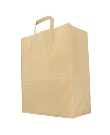 Lower paper brown bag on white background.