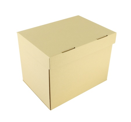 Upper side cardboard paper box on white background. Stock Photo