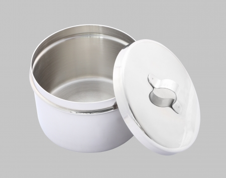 Stainless cotton wool container opened cover on gray background.