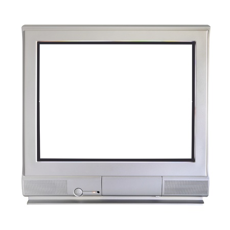 cathode: Analog cathode ray tube television on white background. Stock Photo
