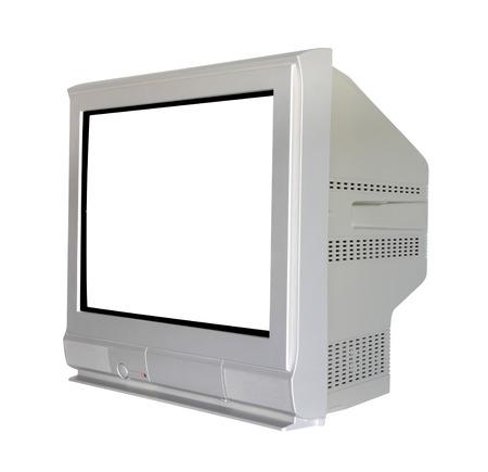 Side analog cathode ray tube television on white background.