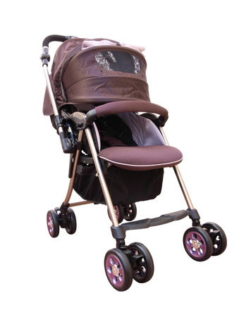Side front pram with cover on white. Stock Photo