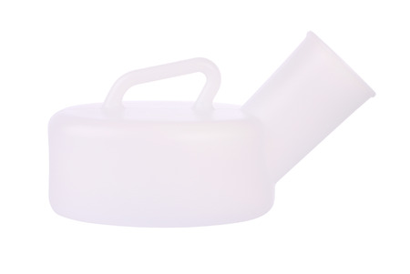 urinal: Side of urinal bottle on white background.