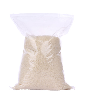 Rice plastic bag package on white background. Stock Photo