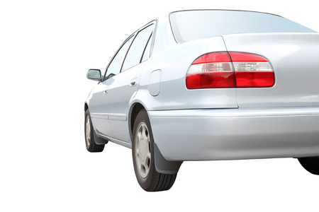Part of back car on white background. Stock Photo