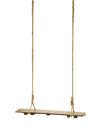 brandish: Shabby wooden swing with rope on white background. Stock Photo