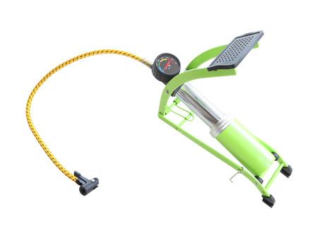 air pump: Foot air pump and pressure meter opened on white background.