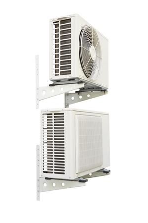 compressor: Twin air compressor on white background. Stock Photo