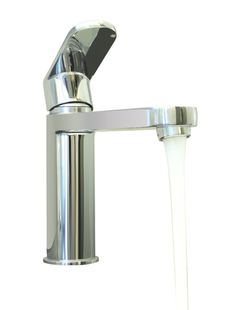 Water flow faucet on white background. Stock Photo