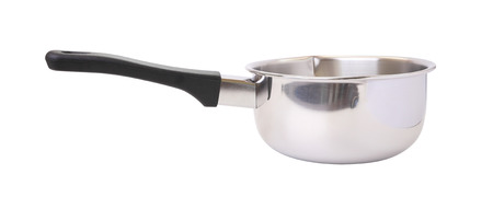 stainless steel pot: Black handle stainless steel pot on white background.