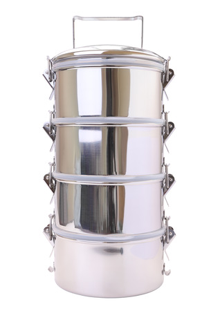 tiers: Metal tiffin carrier on white background.