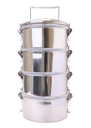 tiffin: Metal tiffin carrier on white background.