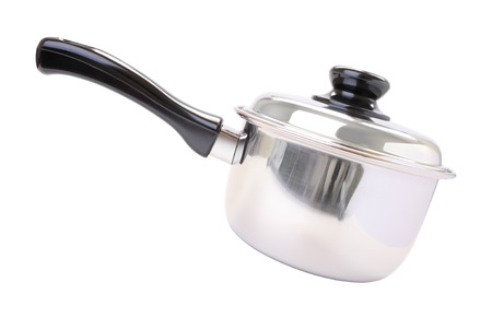 Side black handle closed round stainless pot on white background.
