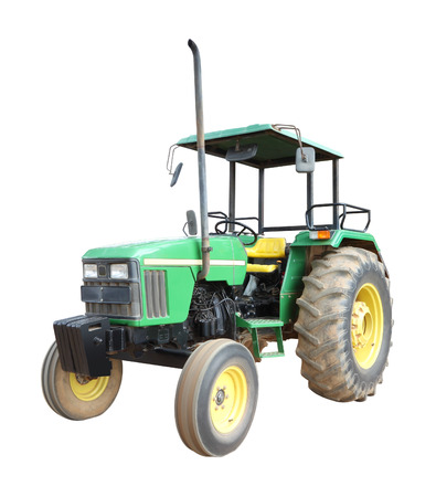 Old green tractor on white background.