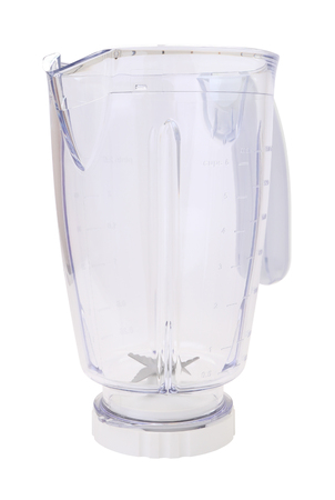 Corner plastic blender bowl on white background.