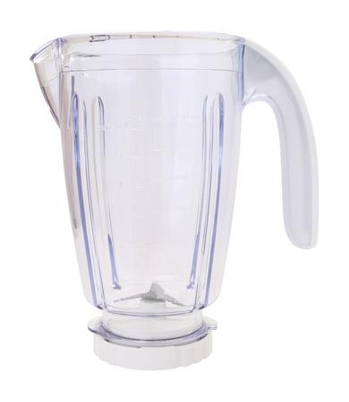 Side of plastic blender bowl on white background. Stock Photo