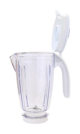 Side plastic blender bowl with cover on white background.
