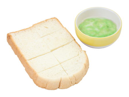 Steamed bread plate and green pandan custard on white background