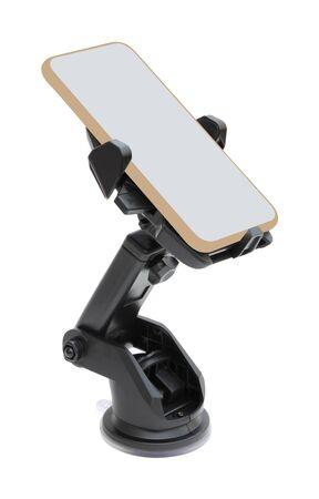 Parte frontal del soporte con plantilla de smartphone sobre fondo blanco.