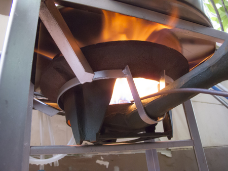 Worms eye view of Boiling in the Aluminum Big Pot Stock Photo