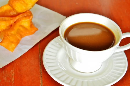 coffee and chinese doughtnut Stock Photo - 16732800