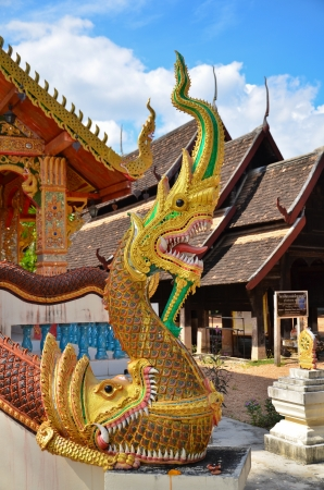 statue king of nagas in front of buddhism temple, Chiangmai_THAILAND photo