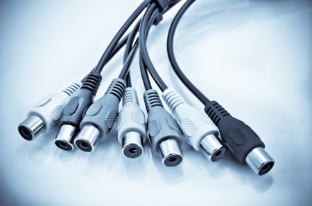 Close-up view of audio and video cables  Isolated on white photo