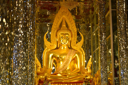 Buddha images , Close up face of gold buddha, Thailand ,Asia Editorial