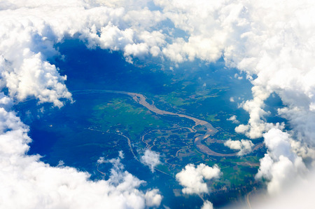 Aerial view of farmland area landscape from airplane. Photo taken